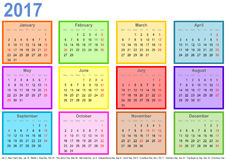 Calendar 2017 with colorful fields per month and holidays USA. Calendar 2017, each month in a differently colored square and markings of public holidays for the Vector Illustration