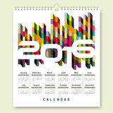Calendar 2016 colorful geometric square design. Calendar 2016, colorful geometric square design background,  illustration Royalty Free Stock Photo