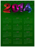 Calendar 2014. Colorful calendar on green background with volume figures Stock Illustration