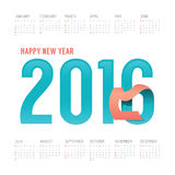 2016 Calendar colorful happy new year vector design. Stock Photo