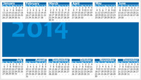Calendar 2014. Colorful illustration of 2014 year calendar. Horizontal orientation Stock Images