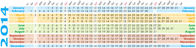 Calendar 2014. Colorful illustration of 2014 year calendar. Horizontal orientation Royalty Free Stock Photos