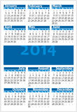 Calendar 2014. Colorful illustration of 2014 year calendar. Vertical orientation Royalty Free Stock Images