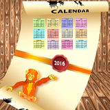 Calendar with colorful months Stock Images