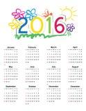 Calendar 2016 Royalty Free Stock Photography