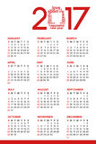 Calendar 2017. Colorful calendar for the new year - 2017 Royalty Free Stock Photo