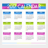 Calendar 2017. Colorful calendar for the new year - 2017 Royalty Free Stock Photos
