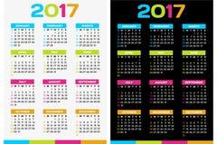 Calendar 2017. Colorful calendar for the new year - 2017 Stock Photos