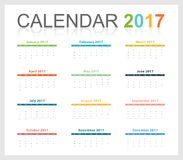 Calendar 2017 colorful party theme. Full month (Vector eps10 vector illustration