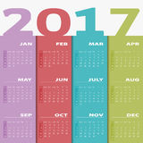 Calendar 2017. Calendar for 2017. Colorful . Calendar 2017 Set of 12 Months. illustration Vector template of color 2017 calendar Vector Illustration