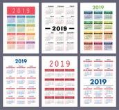 Calendar 2019. Colorful set. Week starts on Sunday. Basic grid. vector illustration