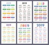 Calendar 2019. Colorful set. Week starts on Sunday. Basic grid. stock illustration