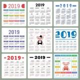 Calendar 2019. Colorful set. Week starts on Sunday. Pig. Cartoon royalty free stock photos