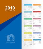 Calendar 2019. Colorful set. Week starts on Sunday. Place for ph stock illustration