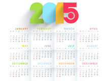 2015 calendar with colorful text. Beautiful 2015 calendar with colorful text on shiny white background Royalty Free Stock Photo