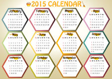 2015-Calendar. Colorful calendar 2015 in us style, start on sunday, each month with individual table royalty free illustration