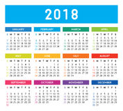Calendar 2018. Colorful calendar vector design and template. Isolated background Vector Illustration