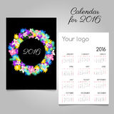 Calendar 2016 with a colorful wreath flowers Royalty Free Stock Photography