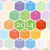 2014 calendar. Colorful Calendar for Year 2014, week starts on Sunday vector illustration
