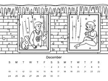 Calendar with coloring book vector illustration. December calendar with coloring book image. Black and white drawing. Cartoon hand drawn vector illustration Royalty Free Stock Photography
