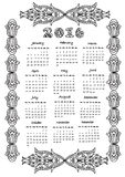Calendar  2016  coloring page Royalty Free Stock Photography