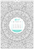 Calendar 2017 for coloring Stock Photography