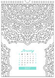 Calendar 2017 for coloring Royalty Free Stock Photo