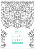 Calendar 2017 for coloring. Wall calendar 2017 with ornament for coloring, anti stress coloring book, march Stock Photography