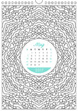 Calendar 2017 for coloring Royalty Free Stock Photography