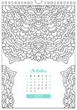 Calendar 2017 for coloring Stock Image