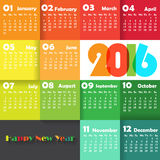 Calendar 2016. Calendar for 2016 on colourful Background. Week Starts Monday. Simple Vector Template Stock Photos