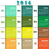 Calendar 2016. Calendar for 2016 on colourful Background. Week Starts Monday. Simple Vector Template Royalty Free Stock Photos
