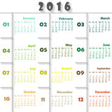 Calendar. For 2016 on colourful Background. Week Starts Monday. Simple Vector Template Stock Image