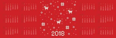 Calendar 2018 com arte transversal do pixel do cão do ponto Imagem de Stock Royalty Free