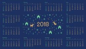 Calendar 2018 com arte transversal do pixel do cão do ponto Imagens de Stock