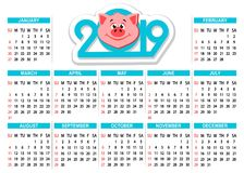 Calendar 2019 com cabeça do ` s do porco dos desenhos animados em um fundo branco Fotografia de Stock Royalty Free