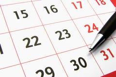 Calendar com uma pena 2 Foto de Stock Royalty Free