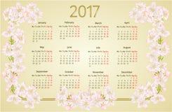 Calendar 2017 com vetor do vintage das flores da árvore de maçã Imagens de Stock Royalty Free