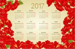 Calendar 2017 com vetor vermelho do vintage das flores do hibiscus Foto de Stock