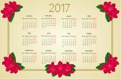 Calendar 2017 com vetor vermelho do vintage das flores do rododendro Foto de Stock