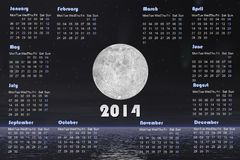 2014 calendar with comets and full moon -3D render. 2014 english calendar with beautiful full moon by dark night, stars and comets over the ocean Stock Illustration