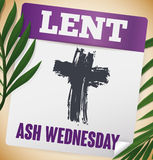 Calendar Commemorating Ash Wednesday with Palm Branches and Sprinkle Cross, Vector Illustration. Poster with palm branches and loose-leaf calendar paper with Royalty Free Stock Photography
