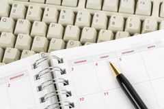 Calendar and computer keyboard Royalty Free Stock Images