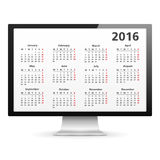 2016 Calendar. Computer monitor with 2016 Calendar Royalty Free Stock Photos
