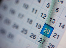 Calendar, computer screen Stock Image