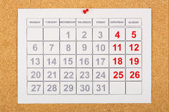 Calendar on corkboard Stock Image