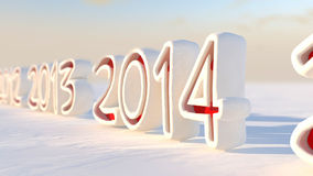 2014 calendar countdown in snow Royalty Free Stock Images