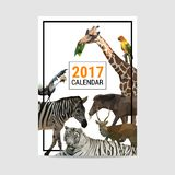 2017 calendar cover animal polygon vector. Cover of 2017 calendar animal polygon vector Royalty Free Stock Photography