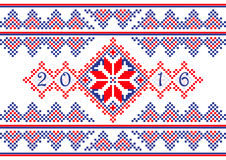 2016 Calendar cover with ethnic round ornament pattern in white red blue colors Royalty Free Stock Photo