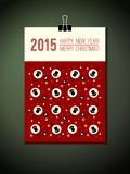 2015 calendar cover. 2015, Happy New Year, Marry. Christmas texting and decorative pattern with sheeps and christmas tree. Design element for Xmas poster vector illustration